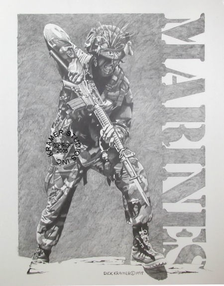 Quot Marine With Bayonet Quot Military Art Prints By Dick Kramer